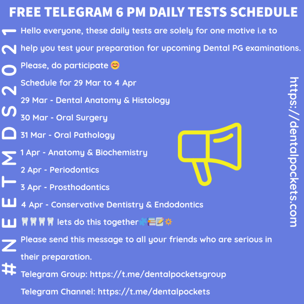 Time table of free dental pockets telegram test series conducted